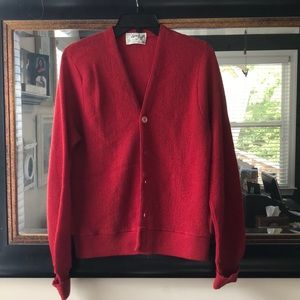 Sweaters - Red Wool Cardigan Sweater